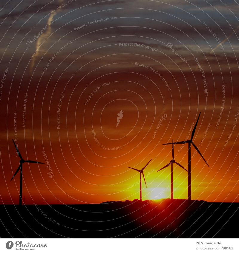 three plus one equals romance Yellow Rotate Square Highway Summer Wind Wind energy plant Sunset Romance Clouds Evening Black Moody 4 Illuminate Back-light