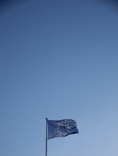 Blue flag on blue ground Cloudless sky Beautiful weather Sign Euro symbol Flag Historic Politics and state Attachment Europe European flag Europe Day
