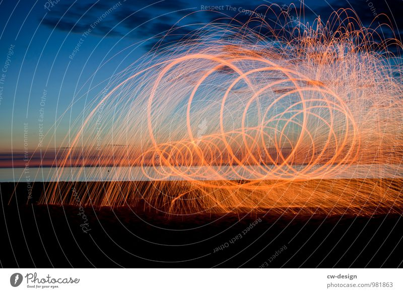 Painting of the future - flying sparking light spiral on the beach Beacon Coast Exterior shot Sky Landscape Colour photo Nature Vacation & Travel Tourism