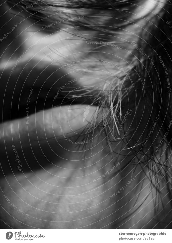 , Longing Self portrait Breath Breathe Woman Face of a woman Lips Dark Lust Macro (Extreme close-up) Close-up Fear Hair and hairstyles Mouth Black & white photo
