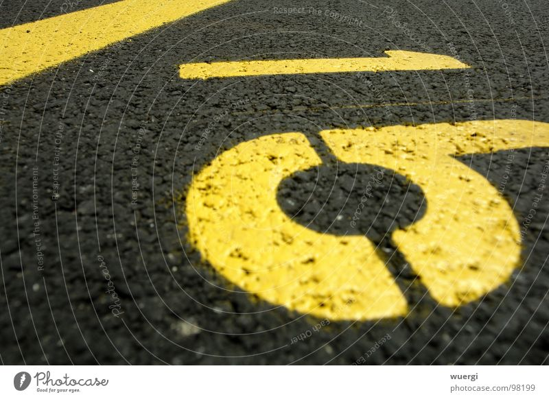 number 16 Yellow Black Parking lot Digits and numbers street lettering