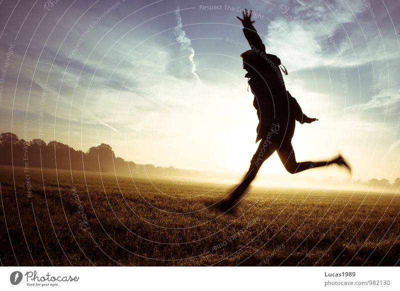 Foggy Field Jump Human being Masculine Young man Youth (Young adults) Man Adults 1 18 - 30 years Free Blue Yellow Orange Black Healthy Happy Athletic Sunrise