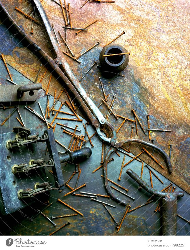 Scrap in the studio Scrap metal Discovery Iron Tin Broken Derelict Pair of pliers Nail Pair of pincers Trash Electricity Screw Switch Brown Door handle Tool