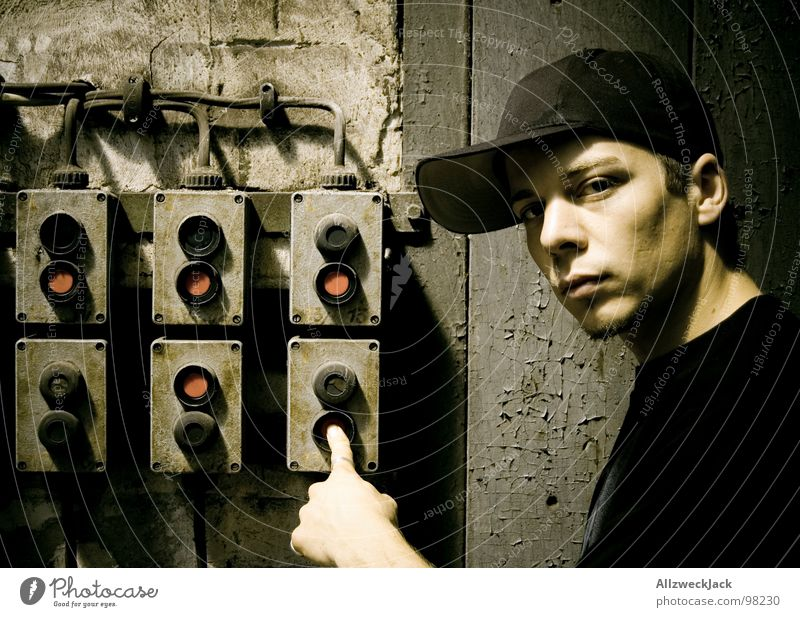 Man Old Loneliness Dark Masculine Fingers Energy industry Electricity Might Technology Cable Derelict Cap Buttons Earnest Switch