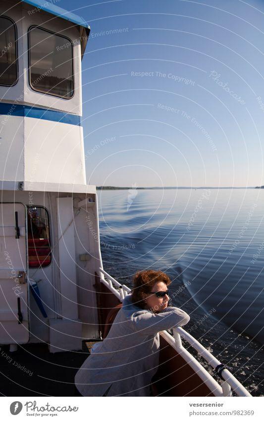 rita enjoys the vänern Trip Summer Human being Feminine Woman Adults 30 - 45 years Lake Vänern Inland navigation Boating trip Relaxation To enjoy Contentment