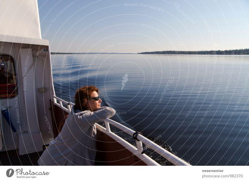 rita enjoys the vänern Vacation & Travel Trip Summer Human being Feminine 1 30 - 45 years Adults Lake Inland navigation Boating trip Relaxation To enjoy Looking