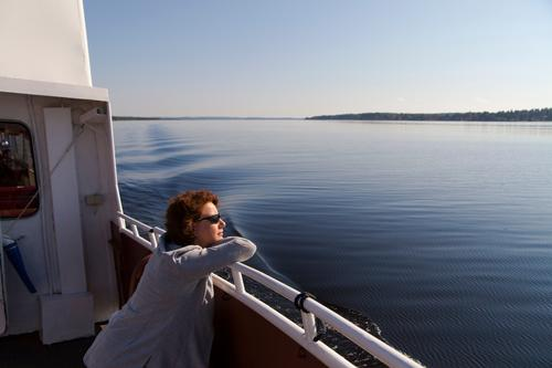 rita enjoys the vänern Vacation & Travel Trip Summer Human being Feminine 1 30 - 45 years Adults Lake Inland navigation Boating trip Relaxation To enjoy Looking