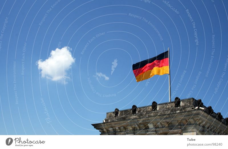 deflagration Building Gray Government Legislative Germany Reichstag Clouds White Small Flag Black Red German Flag Seat of government Masonry Concrete