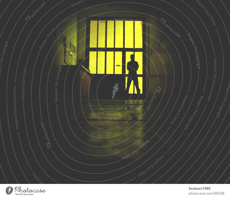 guardian in the dark Dark Guard Entrance Yellow Reflection Shadow play Long exposure