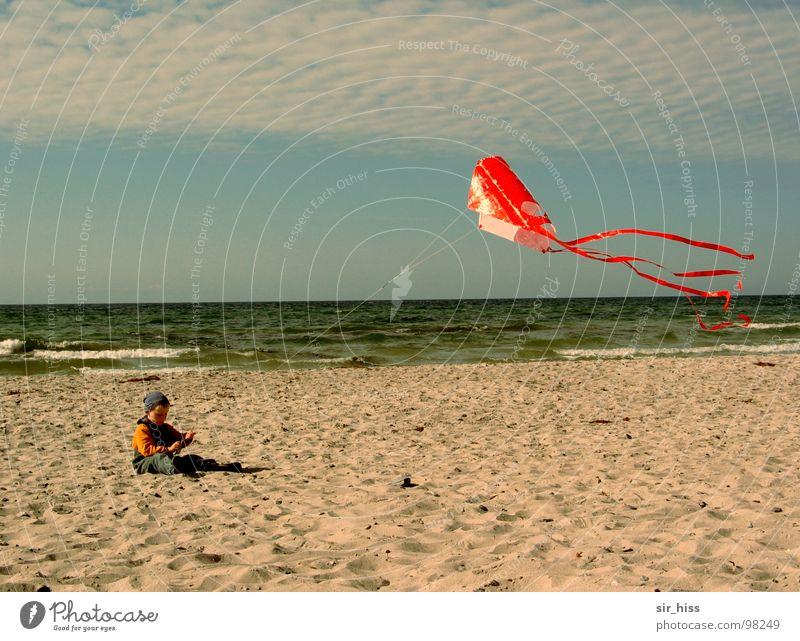 Child Ocean Summer Sand Waves Wind Baltic Sea Dragon Hiddensee