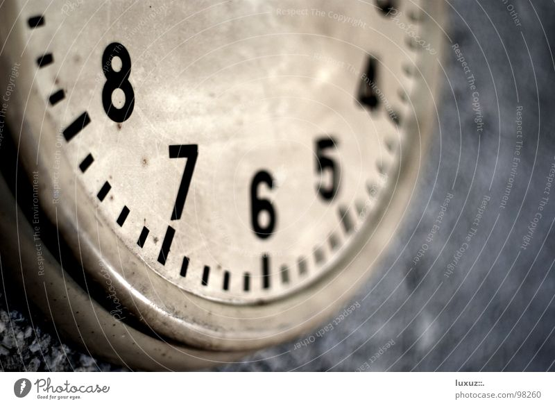 Four Thirty Clock Timeless Sense of time Dimension Restless Watch mechanism Broken Lack Without Grunge Wall (building) Concrete Digits and numbers Clock face 10