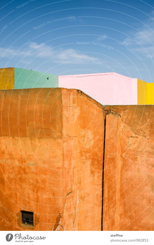 Colourful Sky Beautiful weather Wall (barrier) Wall (building) Esthetic Marrakesh Clay wall Orange Graphic Wellness Vacation & Travel Near and Middle East