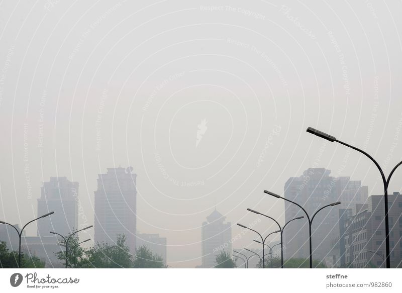 lack of foresight Beijing China Town Skyline House (Residential Structure) High-rise Lantern Fog Smog Colour photo Subdued colour Exterior shot