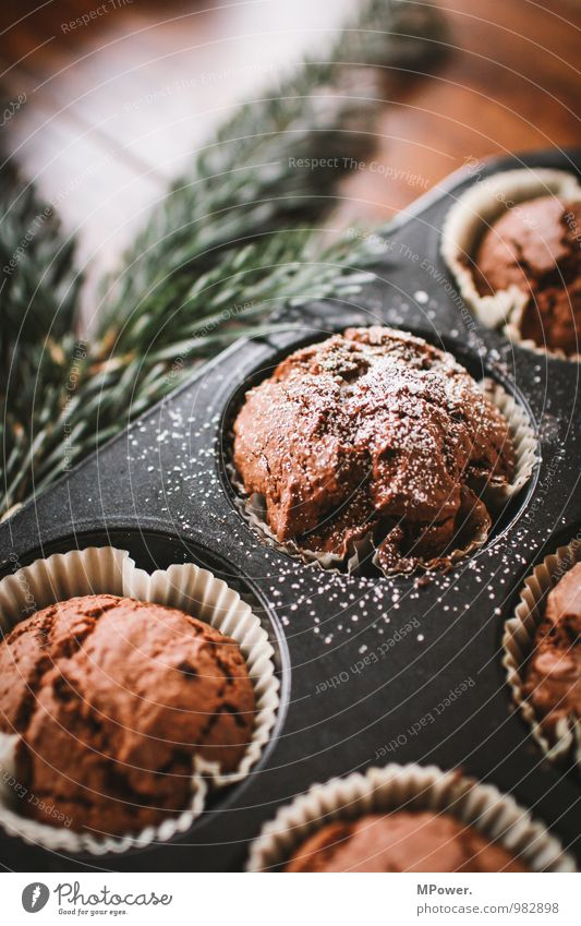 Beautiful Food Fresh Nutrition Cooking & Baking Delicious Candy Appetite Bowl Dough Fast food Muffin Fir branch Chocolate cake Confectioner`s sugar Baking tin
