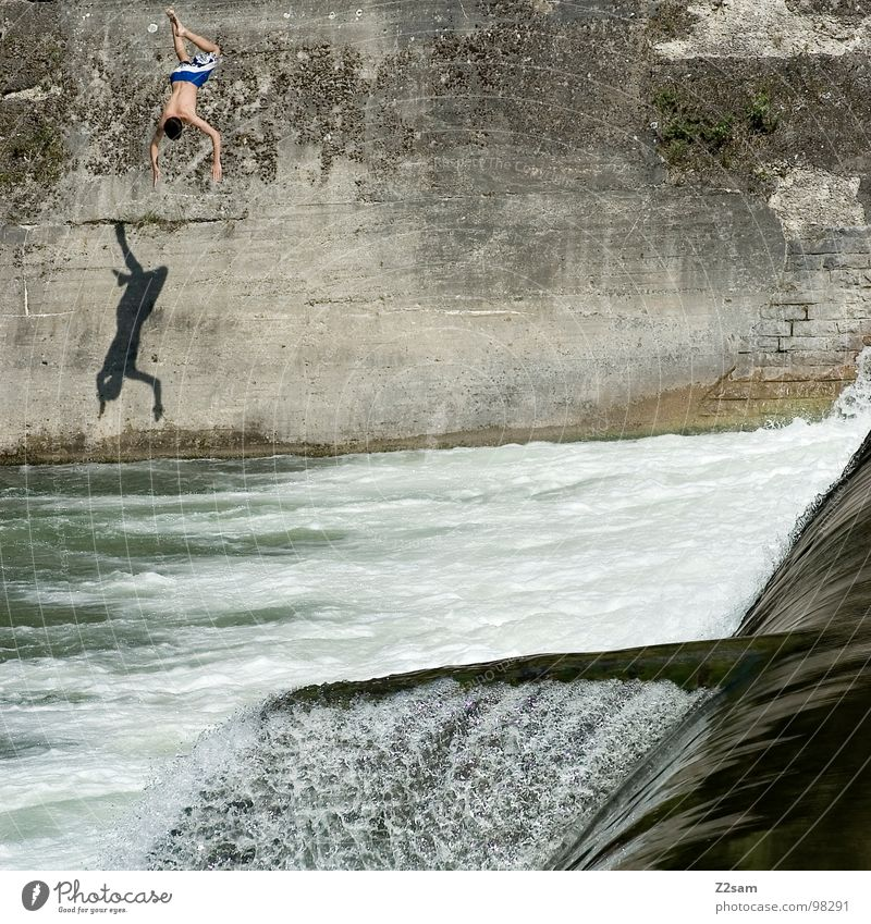 falling down IV Jump Summer White crest Isar Body of water Bavaria Munich Headfirst dive 2 Downward Wall (building) Wall (barrier) Dangerous Sports Water Blue