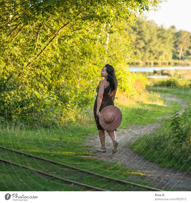 stroll Joy Woman Adults 1 Human being 30 - 45 years Environment Nature Landscape Summer Beautiful weather Tree Grass Bushes Lake Lanes & trails Rail transport