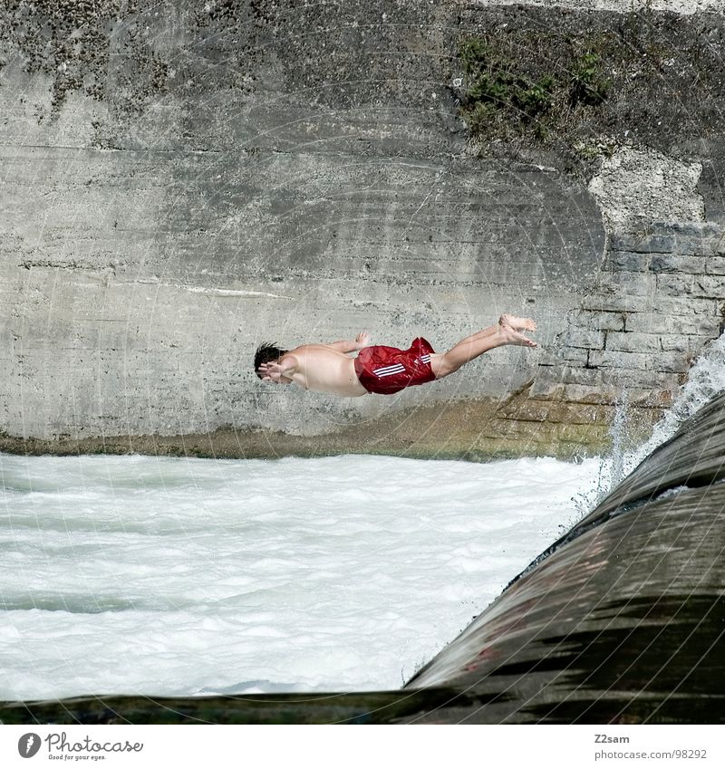 Isar Jumper VI Summer White crest Body of water Bavaria Munich Headfirst dive 2 Downward Wall (building) Wall (barrier) Dangerous Sports Water Blue Level Above