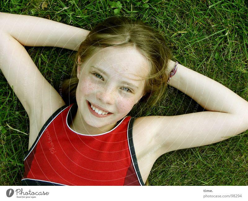 Sky Girl Joy Eyes Relaxation Meadow Head Laughter Garden Contentment Blonde Lie T-shirt Trust Child Interlock
