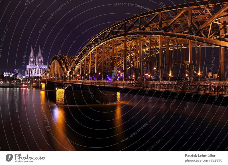 Hohenzollern Bridge Cologne Architecture Environment Water Germany Europe Town Downtown Church Dome Manmade structures Tourist Attraction Landmark Monument