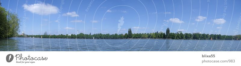 Panorama Maschsee Hanover Hannover Lake Panorama (View) Summer Clouds Recreation area Sky Water Far-off places width machine lake local recreation Large
