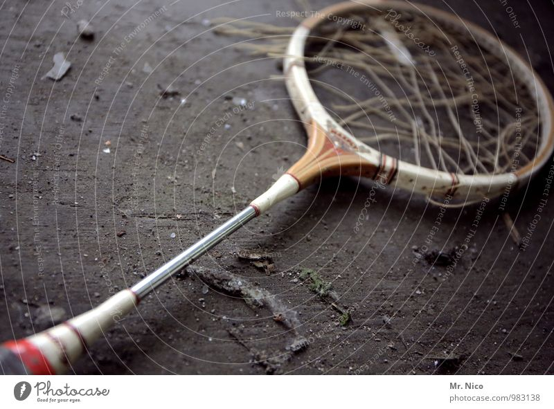 Old Sports Playing Metal Lie Lifestyle Leisure and hobbies Dirty Floor covering Broken Retro Anger Ancient Dust Forget Tennis