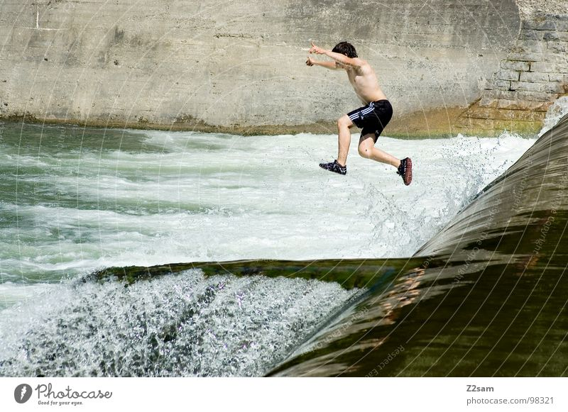 Isar Jumper VIII Summer White crest Body of water Bavaria Munich Together 2 Downward Wall (building) Wall (barrier) Dangerous Sports Water Blue Level Above