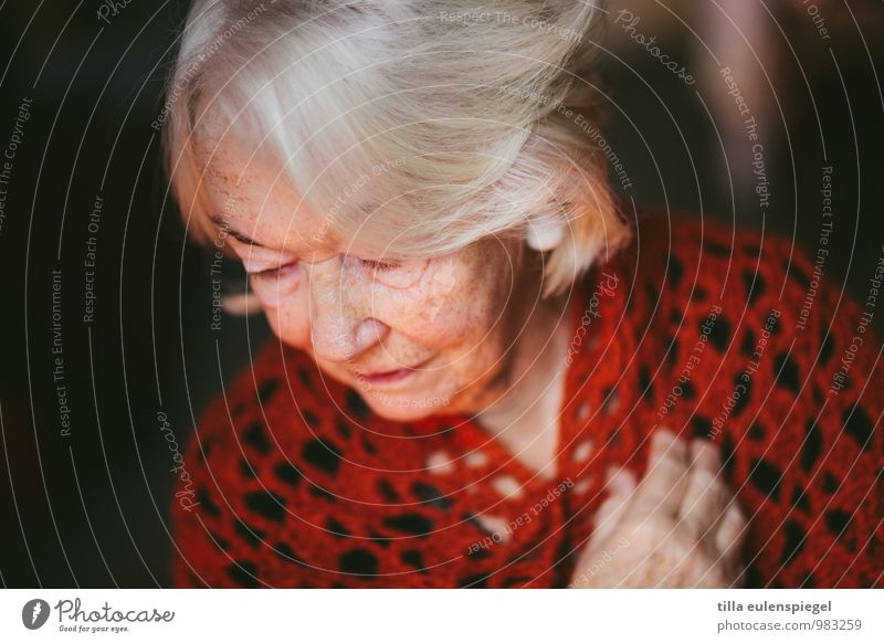 . Calm Feminine Female senior Woman Grandmother Senior citizen 1 Human being 60 years and older Hair and hairstyles White-haired Old Dream Sadness Red Caution
