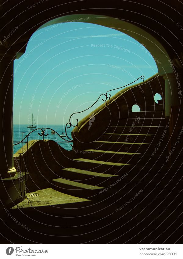 Sky Ocean Stairs Gastronomy Restaurant Visual spectacle Blue sky Mediterranean sea Amalfi