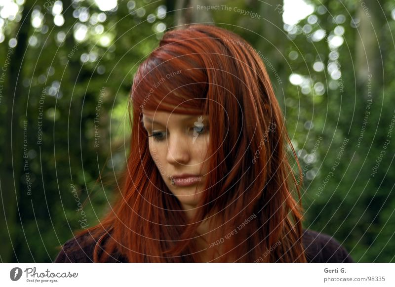 Woman Human being Beautiful Tree Green Face Forest Dark Sadness Think Hope Grief Bushes Distress Shabby Thought