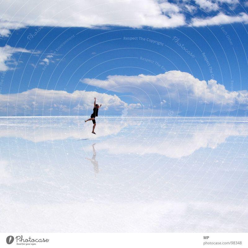 skyjumper Mirror Salt  lake Jump Clouds Bolivia Sky Salar de Uyuni Under Lake Blue Hop Go crazy Hope Events Impressive Adventure Impression Divide Detached