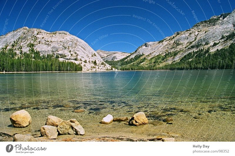 The lake rests still Lake Transparent Calm Stay Yosemite National Park California Break USA Summer Stone Mountain Water Clarity Blue Sky Blue sky Tioga Road