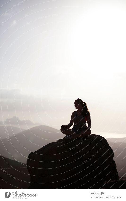 Woman Relaxation Loneliness Calm Mountain Feminine Freedom Art Idyll Power Contentment Sit Esthetic Hope Peak Wellness