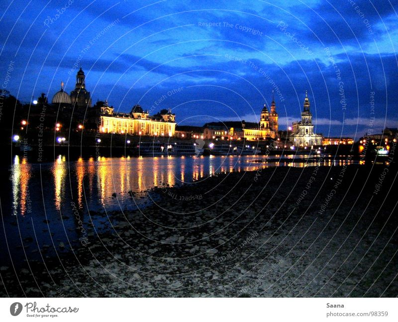 Midsummer in Dresden Elbufer Night Town Beach Saxony Beautiful Elbe Blue sky Light Coast Stone Sky Frauenkirche