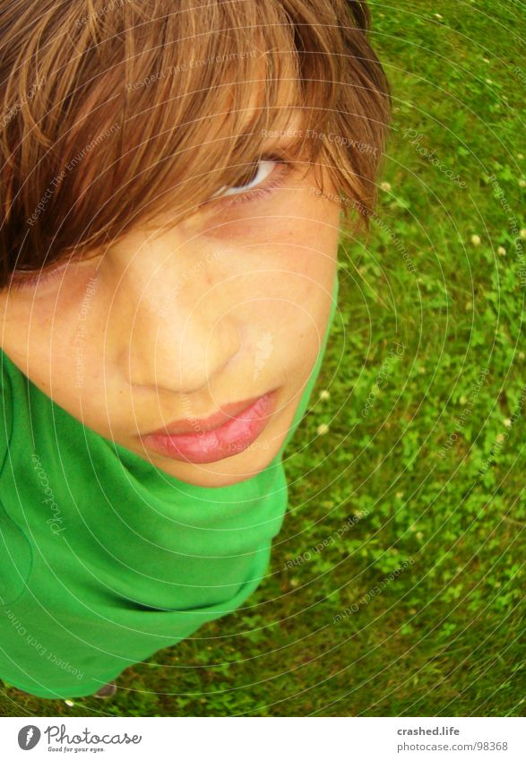 Child Youth (Young adults) Green Eyes Boy (child) Above Grass Hair and hairstyles T-shirt Anger Evil Aggravation Grass green