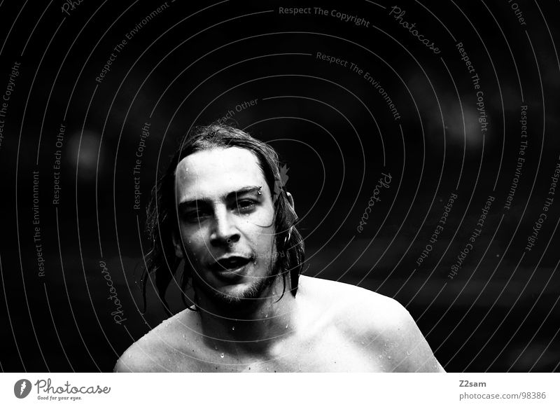 kuddl goes swimming II Swimmer (professional sportsman) Wet Refreshment Summer Long-haired Man Masculine Upper body Portrait photograph Strand of hair Piercing