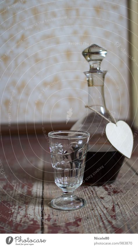 old but beautiful 2 Beverage Old Decanter Glass Floorboards Wooden floor Wine Bottle of wine Heart Historic Vintage Retro Old-school Interior shot Deserted