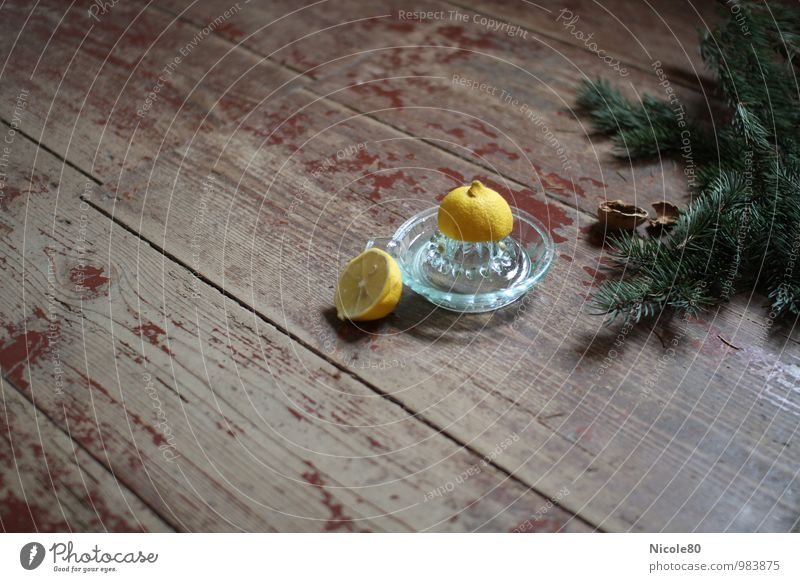 old but beautiful 3 Food Old Lemon Lemon squeezer walnut shells Fir branch Green Yellow Christmassy Christmas & Advent Herbs and spices Colour photo