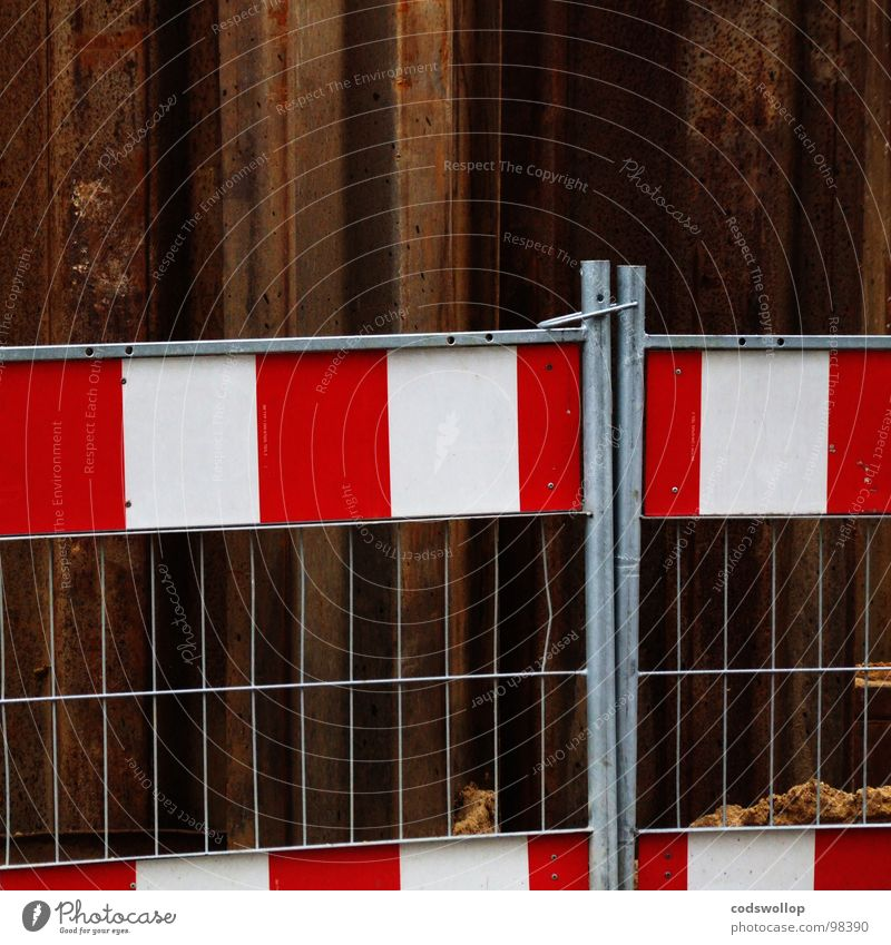 hug Fence Safety Construction site Embrace Noble Together Red Rust White Work and employment Road construction Drainage system Signage Transport enclosure
