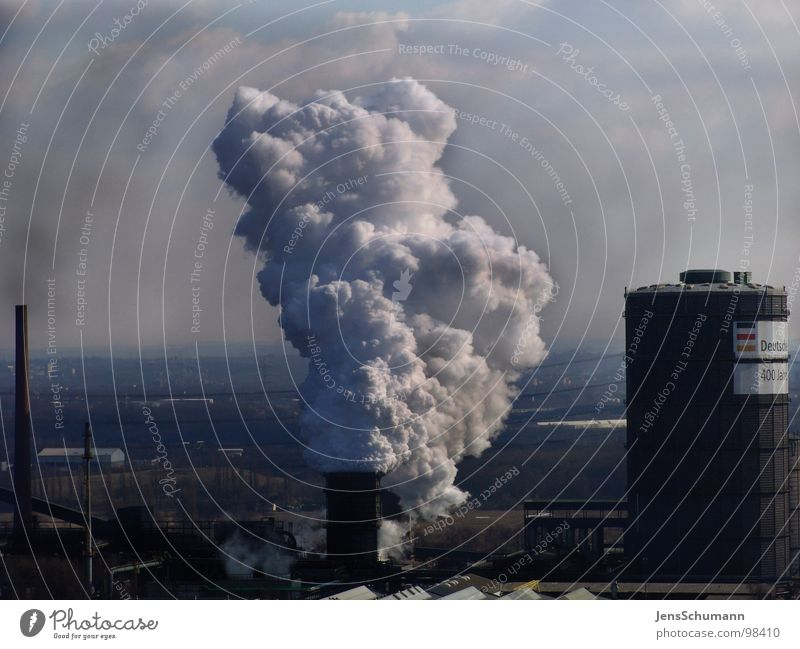 Dark Dirty Industry Smoke Chimney Environmental pollution Steam Smog Dust Air pollution Fine particles Gasometer