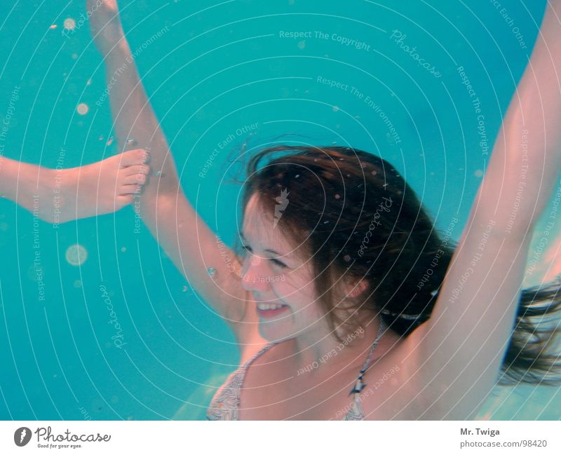 Woman Water Beautiful Blue Summer Freedom Happy Laughter Dive Grinning Air bubble Hover Weightlessness Nixie (Water Spirit)