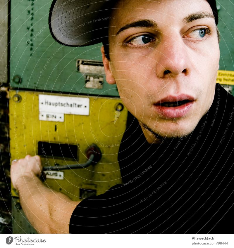 Man Green Yellow Metal Masculine Electricity Technology Cable Derelict Box Cap Craft (trade) Panic Amazed Switch Kill