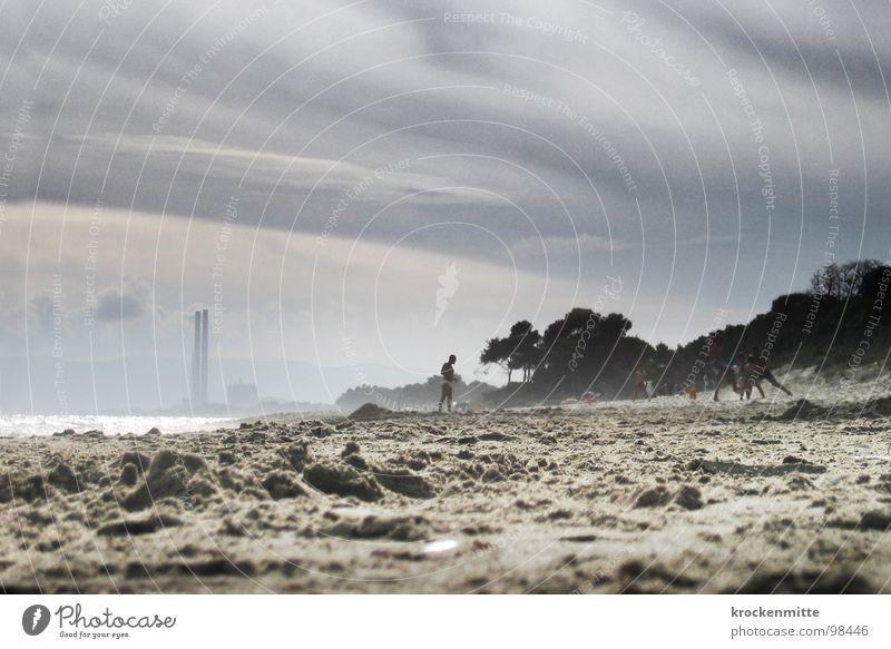 beach dream Italy Vacation & Travel Beach Clouds Tuscany Playing Ocean Environmental pollution Sand Industrial Photography Smoke beach ball doom mood Dirty