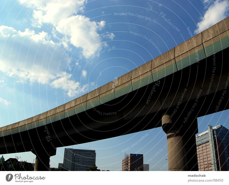 Sky City Clouds House (Residential Structure) Street Architecture Power Concrete High-rise Hamburg Force Bridge Living or residing Construction site Mobility