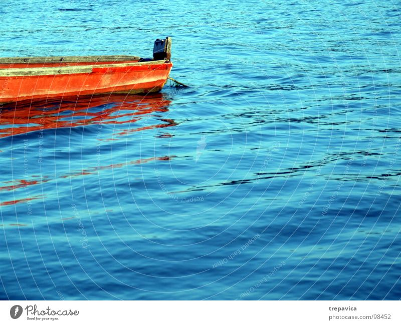 boat I Summer Wood Calm Waves Mirror Watercraft Fishing boat Vacation & Travel River Orange Blue Colour colours sunny Danube silent Contrast