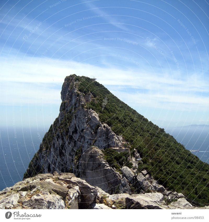 The Rock, The Rock of Gibraltar Summer Ocean Nature Landscape Sky Clouds Horizon Peak Stone Blue Gray Green Colour photo Exterior shot Deserted Copy Space top