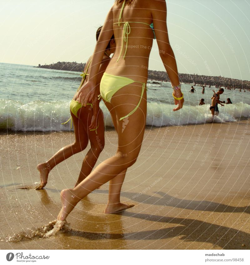 Woman Human being Youth (Young adults) Water Girl Sky Ocean Summer Beach Vacation & Travel Naked Movement Feet Warmth Sand Legs