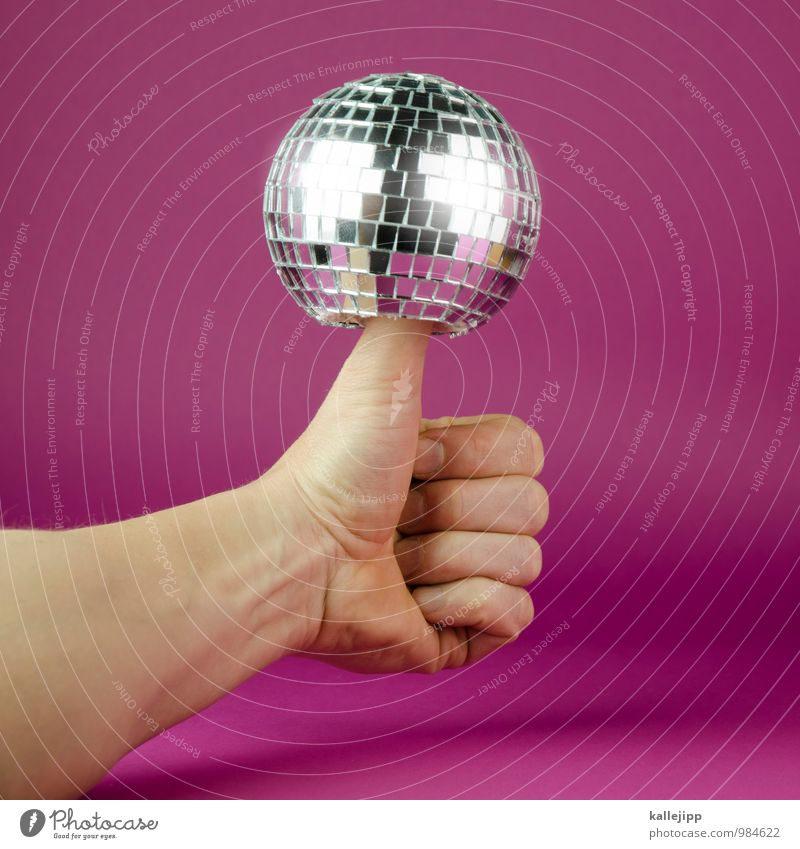 top of the pops Arm Hand Fingers Feasts & Celebrations Disco ball Party Party mood Party night Disc jockey Music Thumb hit parade Hit Good Success Glittering