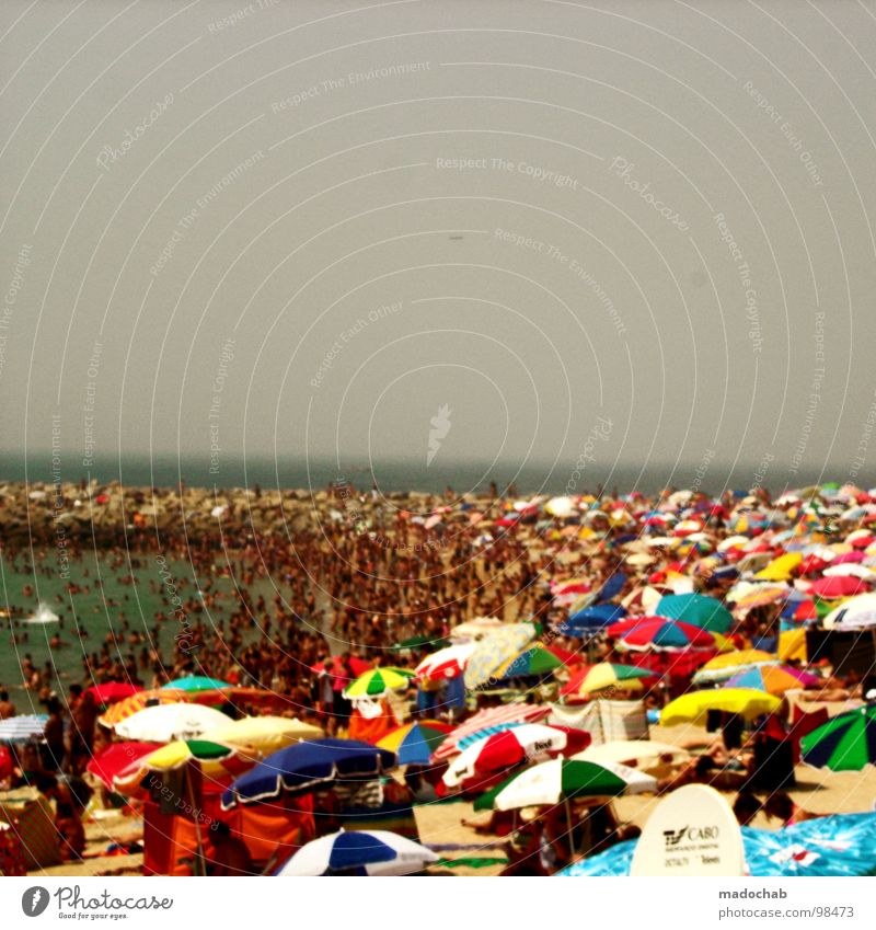 SEA OF COLOURS OF GREY Beach Vacation & Travel Leisure and hobbies Ocean Nightmare Tourist Visitor Assembly Demonstration Meeting Promontory Crowd of people