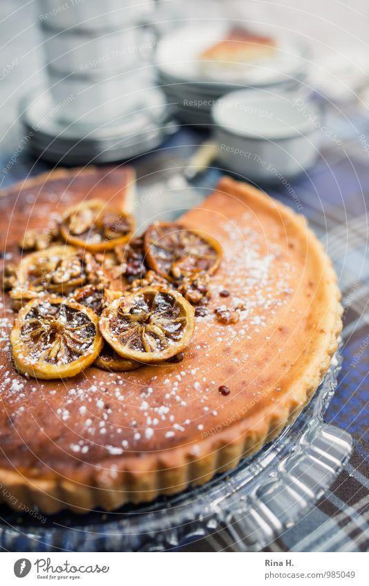 Lemon Ricotta Tart II Dough Baked goods Cake Crockery Plate Delicious Sweet To enjoy food lemon tart Tablecloth Checkered Cup caramelized Cake plate Deserted