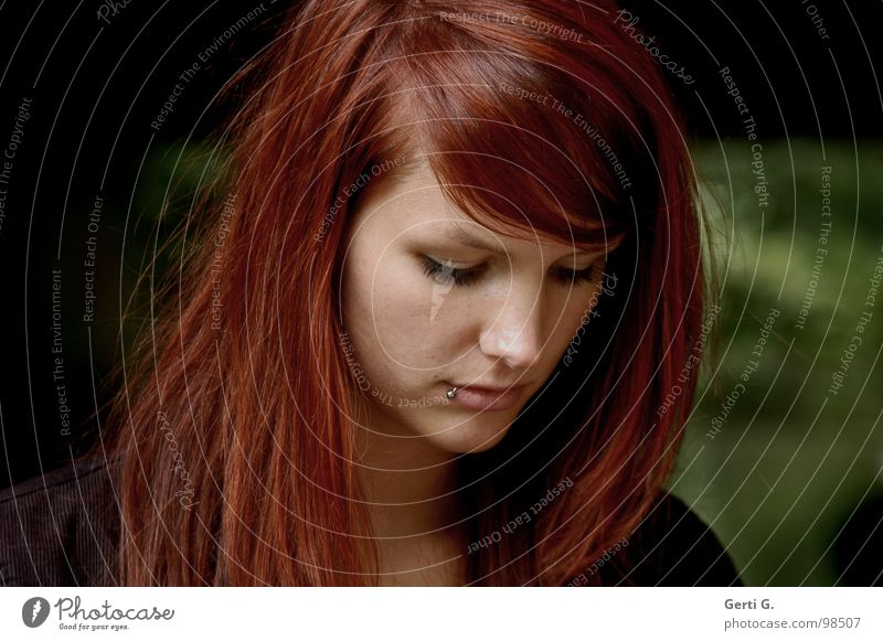 Human being Woman Green Beautiful Face Dark Sadness Think Young woman Hope Grief Long-haired Distress Concern Thought Feeble